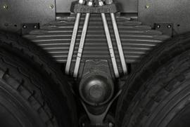 Hệ thống treo phụ thuộc, nhíp lá (12 lá), giảm chấn thủy lực